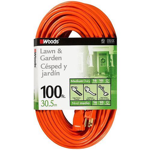16/3 SJTW 100 ft. Orange Outdoor Extension Cord