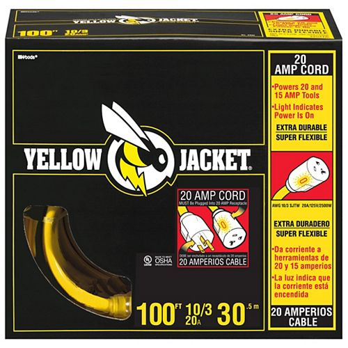 Lighted End 10/3 SJTW 100 ft. Heavy Duty Yellow Jacket Extension Cord