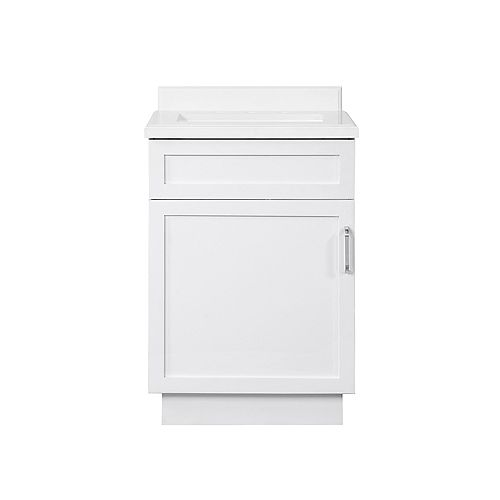 Ove Decors Lincoln 24 inch Bath Vanity in White with White Cultured Marble Top and White Basin