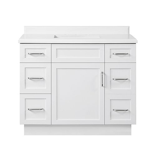 Lincoln 42 inch Bath Vanity in White with White Cultured Marble Top and White Basin