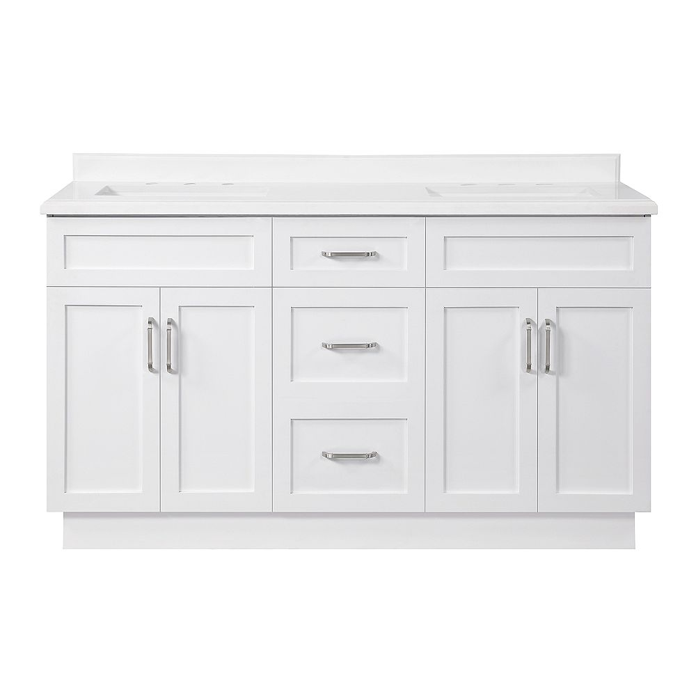 Ove Decors Lincoln 60 inch Bath Vanity in White with White Cultured Marble Top and White Basin