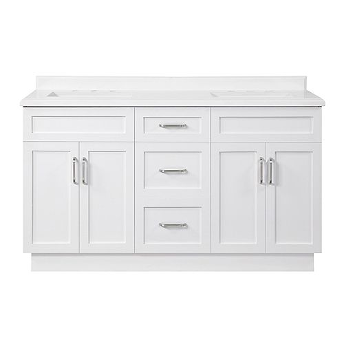 Home Decorators Collection Lincoln 60 inch Bath Vanity in White with White Cultured Marble Top and White Basin