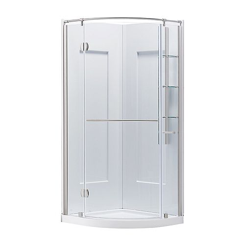 Glamour 32-inch Semi-Frameless Round Corner Shower Stall Enclosure by Glacier Bay