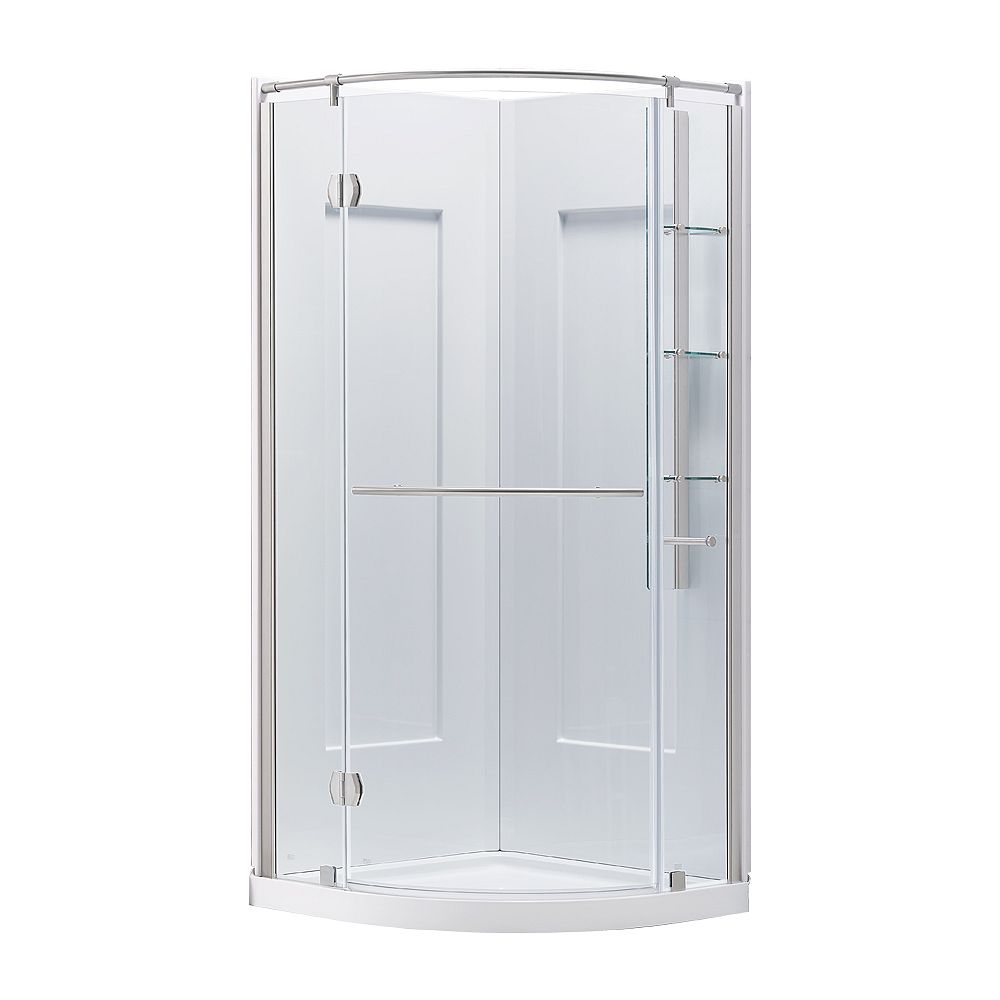 Ove Decors Glamour 34-inch Semi-Frameless Round Corner Shower Stall Enclosure by Glacier Bay