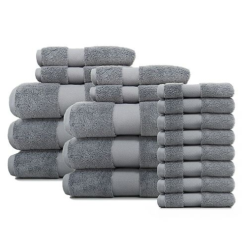 Plush Soft Towel-Bath/Hand/Wash-Stone Grey 18PC Set