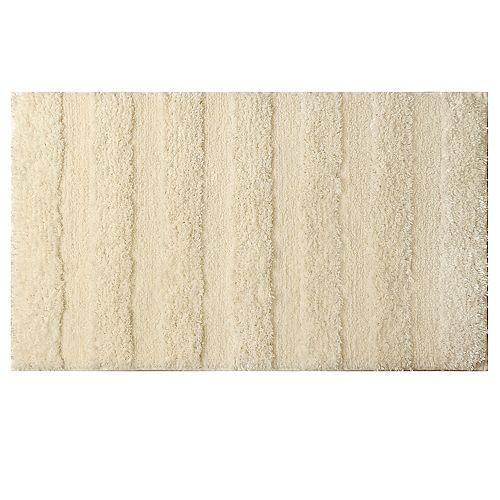 20-inch x 34-inch Ivory Polyester Bath Mat
