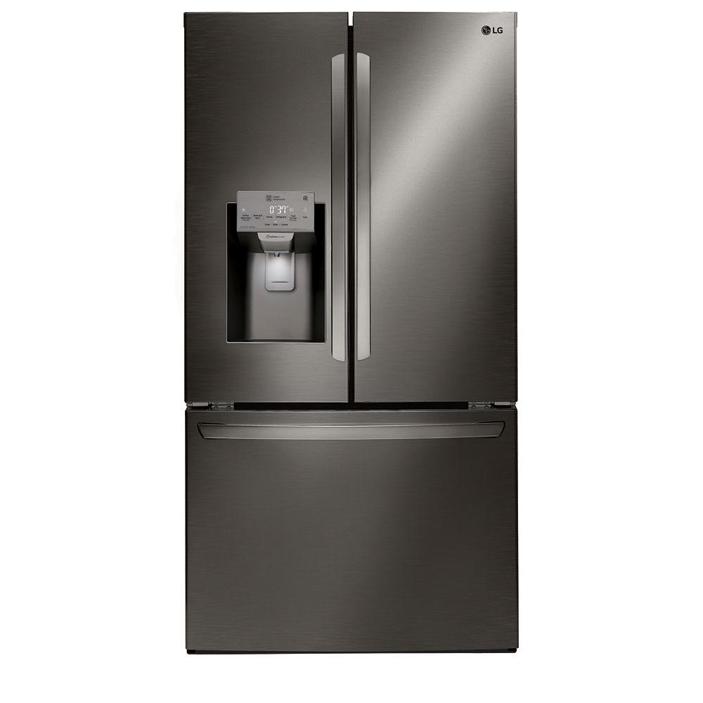 LG Electronics 36-inch W 22 cu. ft. French Door Smart Refrigerator with Wi-Fi in Black Stainless Steel, Counter-Depth - ENERGY STAR®
