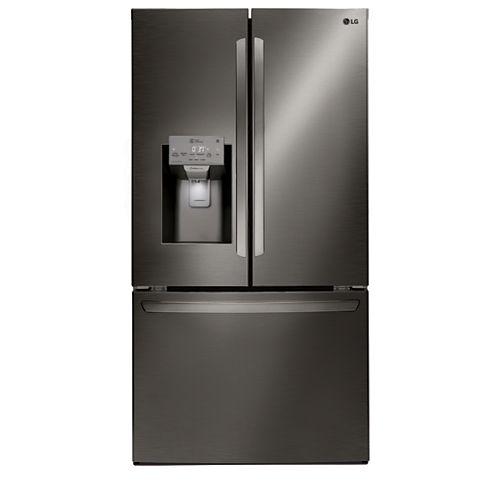 LG Electronics Réfrigérateur intelligent à porte française de 36 pouces, 22 pieds cubes, avec Wi-Fi, en acier inoxydable noir, profondeur de comptoir - ENERGY STAR