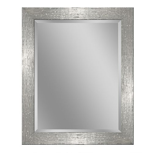 28 in. x 34 in. White/Chrome Driftwood Wall Mirror