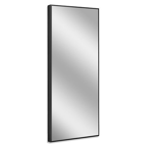 25 in. x 64 in. Black Studio Float Leaner Mirror