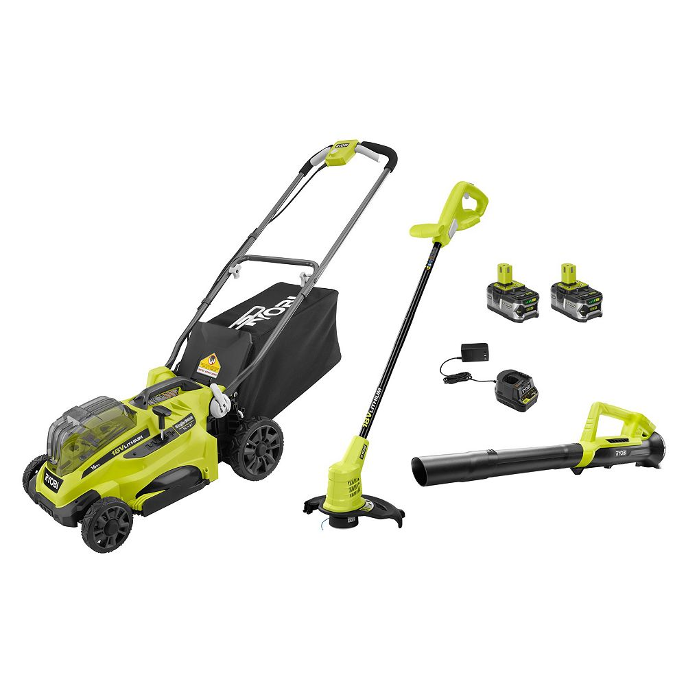RYOBI 18V ONE+ 16-inch Mower, Trimmer and Blower Kit with (2) 4.0Ah Batteries and (1) Charger
