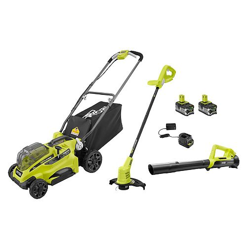 18V ONE+ 16-inch Mower, Trimmer and Blower Kit with (2) 4.0Ah Batteries and (1) Charger