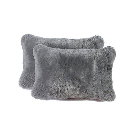 New Zealand Sheepskin Fur 12 inch x 20 inch Pillow (Set of 2) Grey