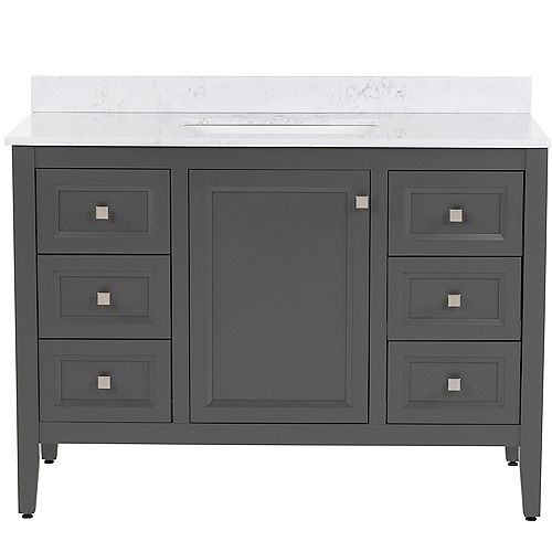 Darcy 49 inch W Bath Vanity in Shale Gray with Stone Effects Vanity Top in Pulsar