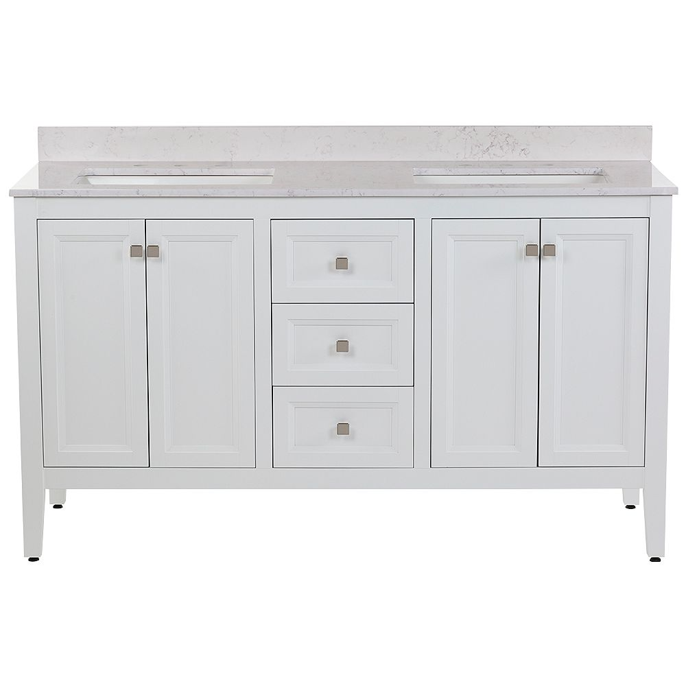 Moen Darcy 61 inch W Bath Vanity in White with Stone Effects Vanity Top in Pulsar