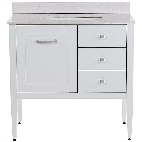 Hensley 37 inch W Bath Vanity in White with Stone Effects Vanity Top in Pulsar