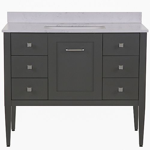 Hensley 43 inch W Vanity in Shale Gray with Stone effect Vanity Top in Pulsar