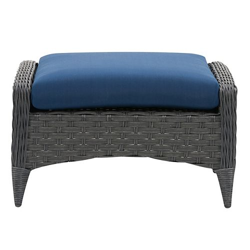 CorLiving Wide Rattan Wicker Patio Foot Stool, Distressed Charcoal Grey with Navy Blue Cushion