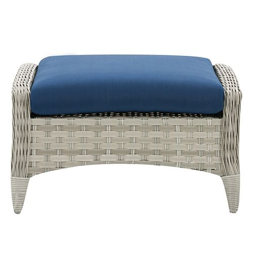 CorLiving Wide Rattan Wicker Patio Foot Stool, Blended Grey with Navy Blue Cushion