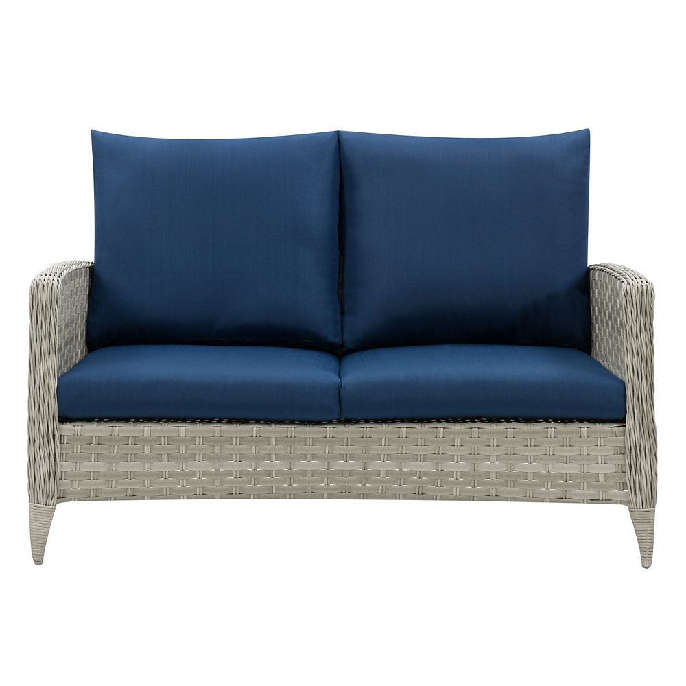 Corliving CorLiving Wide Rattan Wicker Patio Loveseat, Blended Grey with Navy Blue Cushions