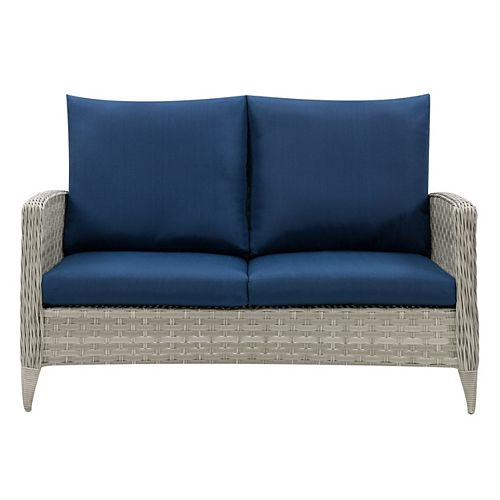 CorLiving Wide Rattan Wicker Patio Loveseat, Blended Grey with Navy Blue Cushions
