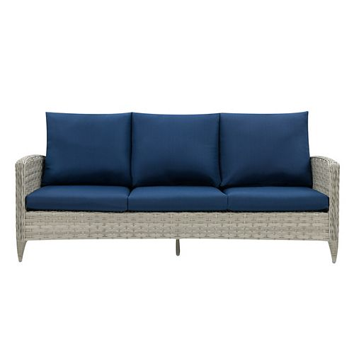 CorLiving Wide Rattan Wicker Patio Sofa, Blended Grey with Navy Blue Cushions