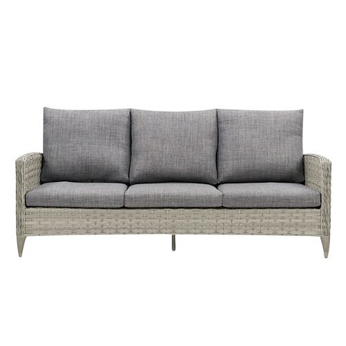 Canapé de patio en osier rotin, gris mélangé délavé avec coussins gris texturé