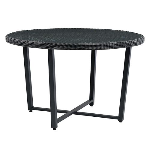 CorLiving Rattan Wicker Patio Dining Table in Distressed Charcoal Grey with Glass Inset Table Top
