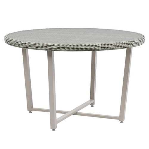 CorLiving Wide Rattan Wicker Patio Dining Table in Blended Grey with Glass Inset Table Top