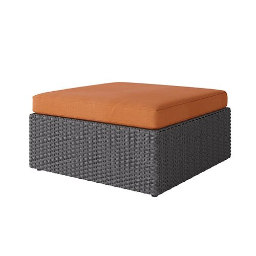 Weather Resistant Resin Wicker Oversized Patio Ottoman, Distressed Charcoal Grey with Autumn Orange