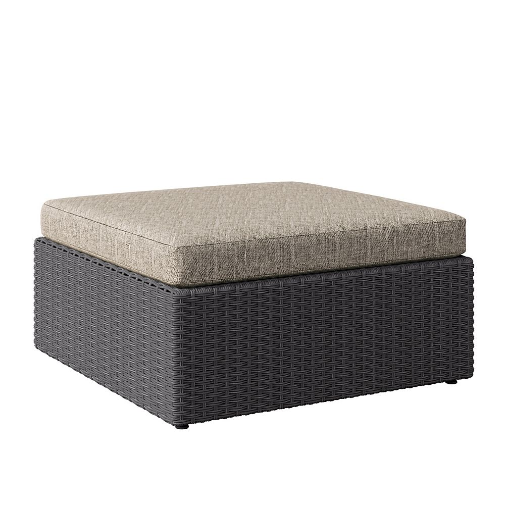 Corliving Weather Resistant Resin Wicker Oversized Patio Ottoman, Distressed Charcoal Grey with Mushroom Grey