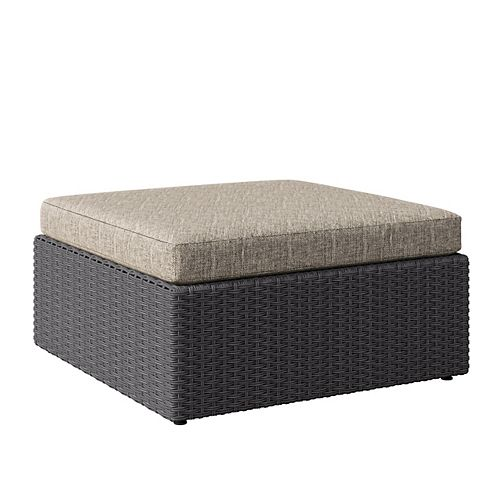 Weather Resistant Resin Wicker Oversized Patio Ottoman, Distressed Charcoal Grey with Mushroom Grey