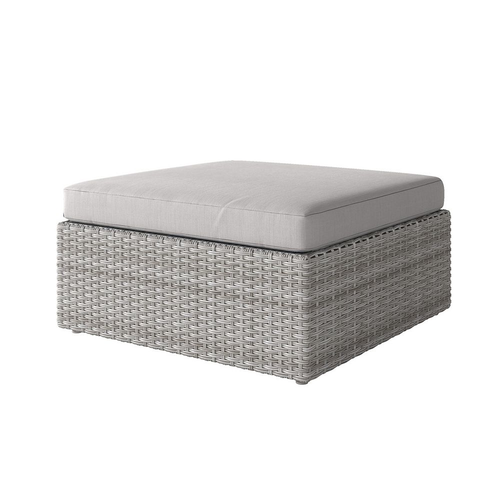 Corliving Weather Resistant Resin Wicker Oversized Patio Ottoman, Blended Grey with Grey