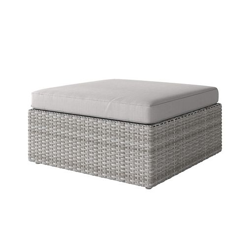Weather Resistant Resin Wicker Oversized Patio Ottoman, Blended Grey with Grey