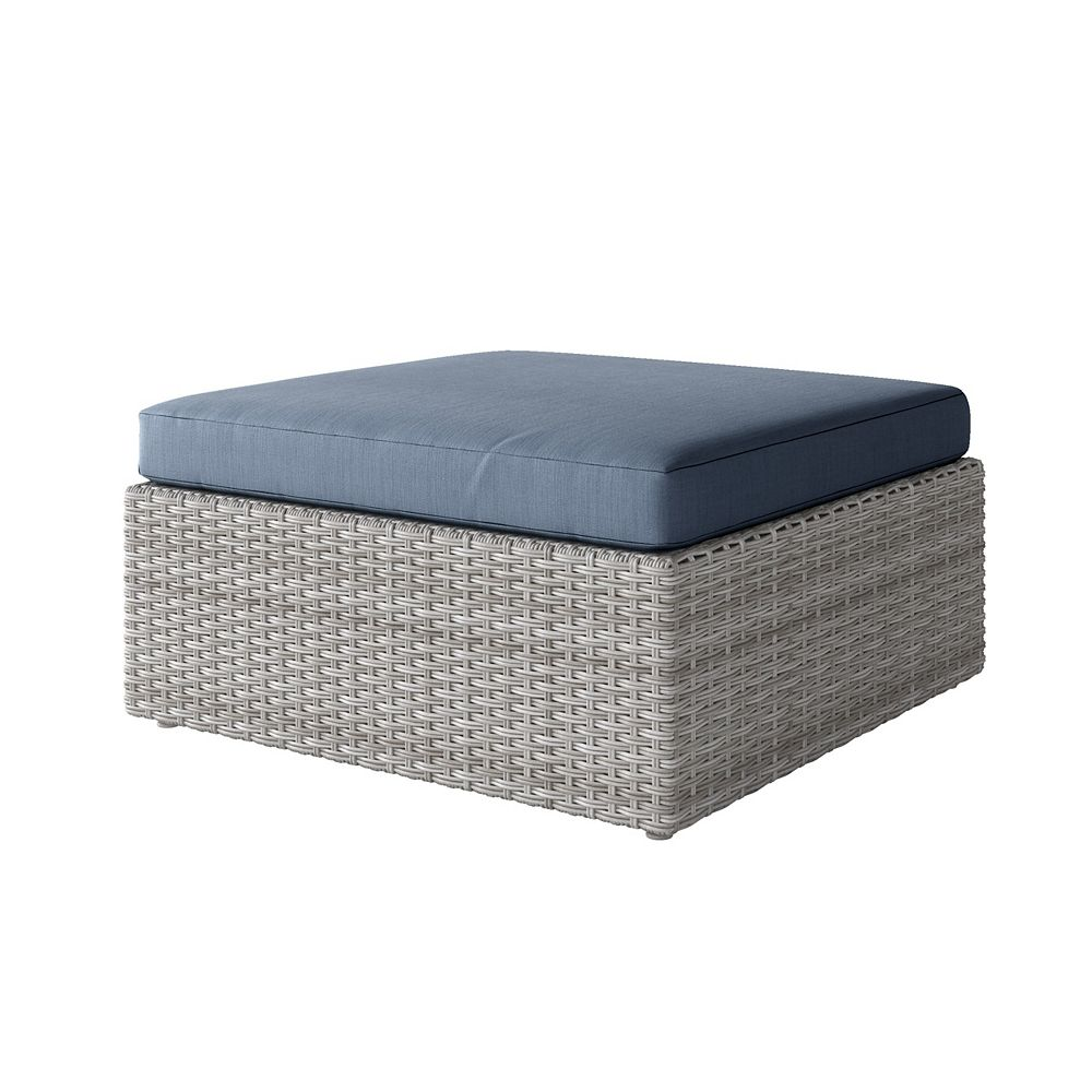 Corliving Weather Resistant Resin Wicker Oversized Patio Ottoman, Blended Grey with Blue