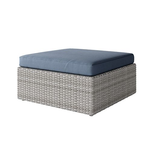 Weather Resistant Resin Wicker Oversized Patio Ottoman, Blended Grey with Blue