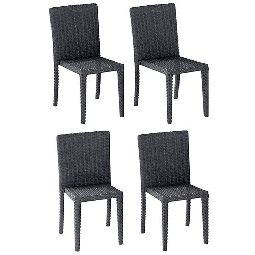 Corliving Distressed Charcoal Grey Rattan Wicker Dining Chairs, Set of 4
