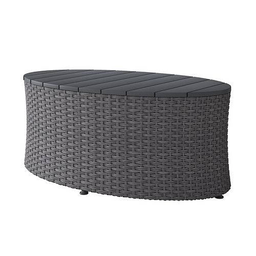Weather Resistant Charcoal Grey Oval Patio Coffee Table