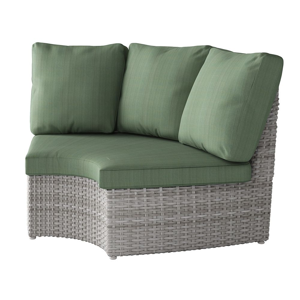 Corliving Weather Resistant Resin Wicker Curved Corner Patio Chair, Blended Grey with Sage Green