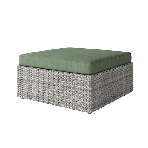 Weather Resistant Resin Wicker Oversized Patio Ottoman, Blended Grey with Sage Green