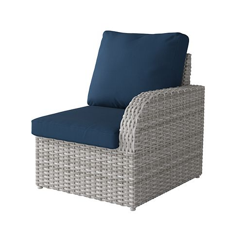 Corliving Weather Resistant Resin Wicker Right Arm Patio Chair, Blended Grey with Navy Blue