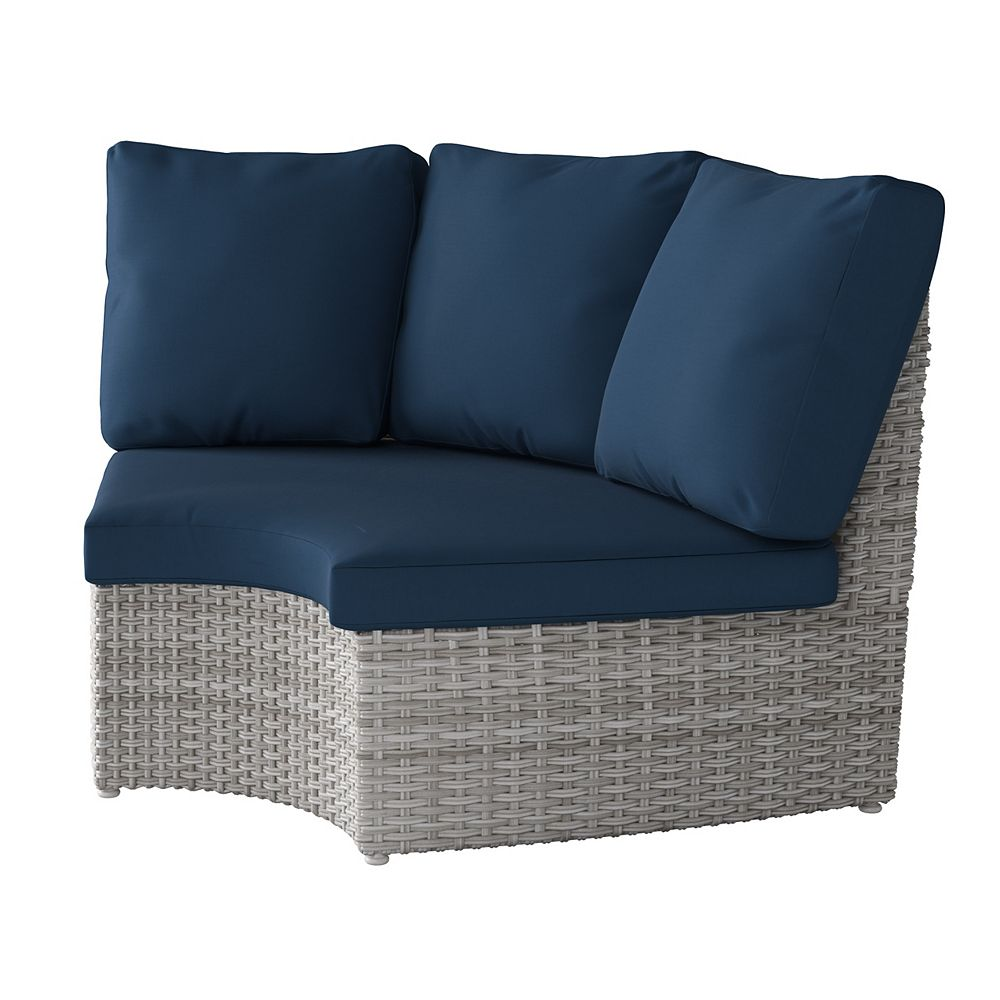 Corliving Weather Resistant Resin Wicker Curved Corner Patio Chair, Blended Grey with Navy Blue