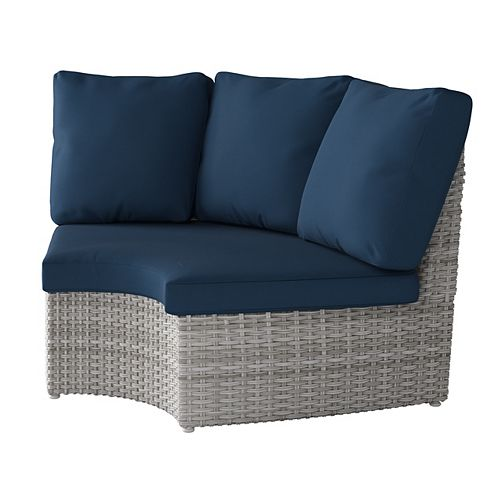 Weather Resistant Resin Wicker Curved Corner Patio Chair, Blended Grey with Navy Blue