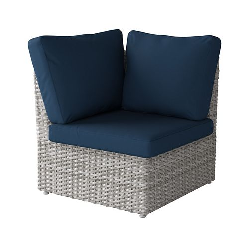 Corliving Weather Resistant Resin Wicker Corner Patio Chair, Blended Grey with Navy Blue