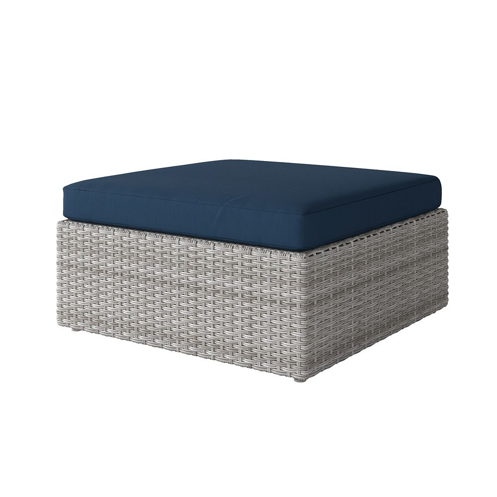 Corliving Weather Resistant Resin Wicker Oversized Patio Ottoman, Blended Grey with Navy Blue