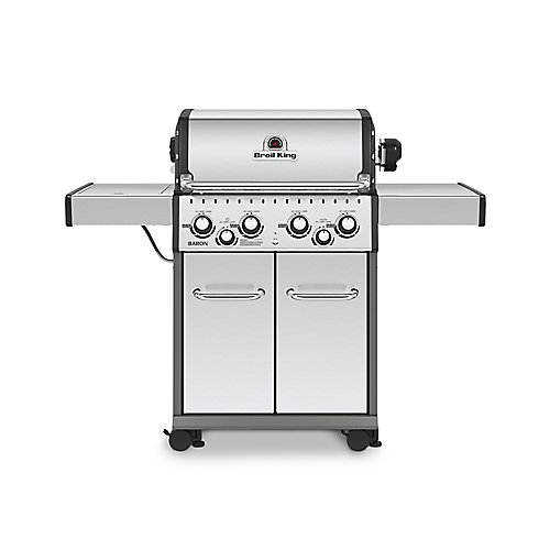 Baron S490 Pro IR 4 Burner 40,000 BTU LP Gas Grill with Infrared Side Burner and Rotisserie