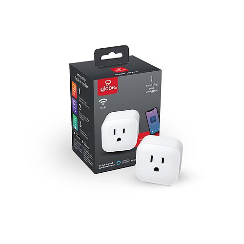Globe Electric Wi-Fi Smart Plug, No Hub Required, Voice Activated, White