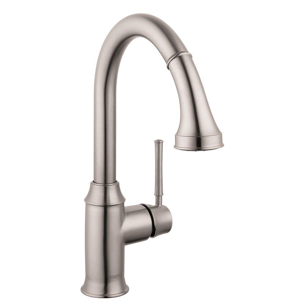 Hansgrohe Talis C 1-Handle Pull-Down Sprayer Kitchen Faucet in Steel Optik