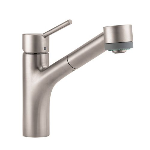 Hansgrohe Talis S 1-Handle Pull-Out Sprayer Kitchen Faucet in Steel Optik