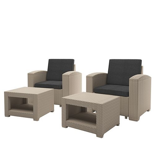 Beige Chair and Ottoman Patio Set